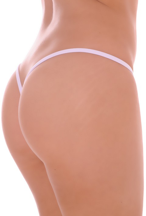 White Premium Lined V Back Thongs