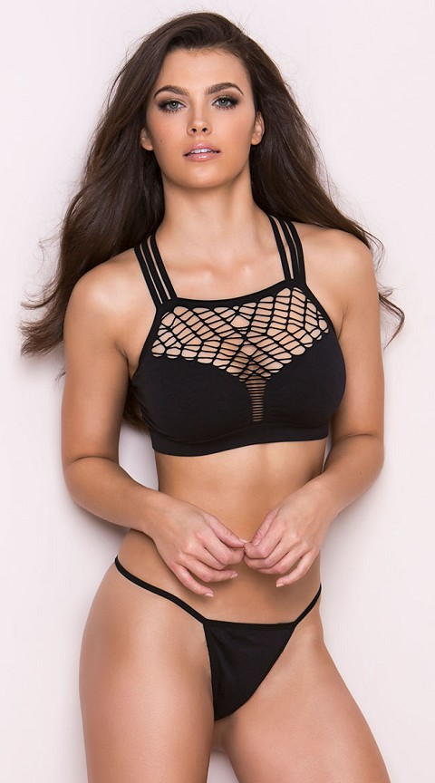Black Net Plunge Strappy Bra Set with Thong