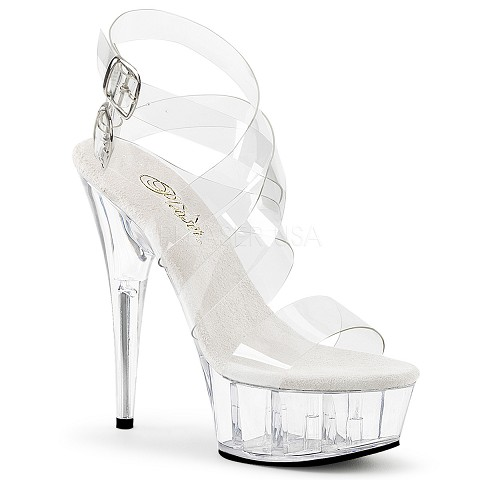 Clear 6 Inch Stiletto Heal Ankle Strap Platform Sandal