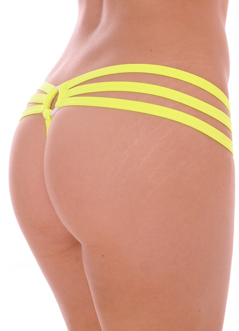 Neon Yellow Strappy Triple Band Thong with Ring Back