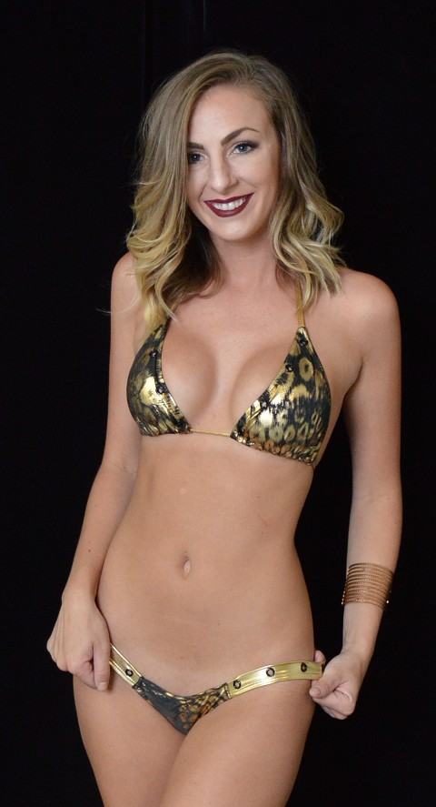 Gold Leopard Thick Band Thong Bikini with Grommets
